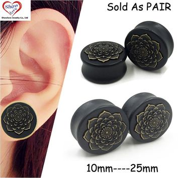 Showlove-PAIR Black Wood Copper Flower Logo Saddle Plugs Ear Tunnel Gauge Kit Piercing Expander Stretcher Double Flare Jewelry