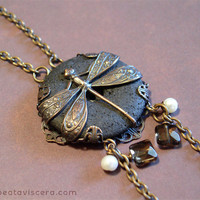 Neo Victorian Dragonfly Necklace by BeataVisceraDesign
