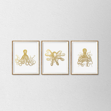 Faux Gold Foil Octopus Prints. Set of 3. Modern Home Decor. Bathroom Art. Nautical Print. Vintage Inspired Print. Office Art.