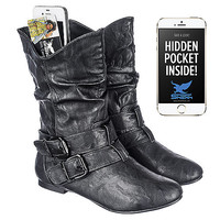 Women's Black Leather Pocket Boot Vickie-16 | Shiekh Shoes