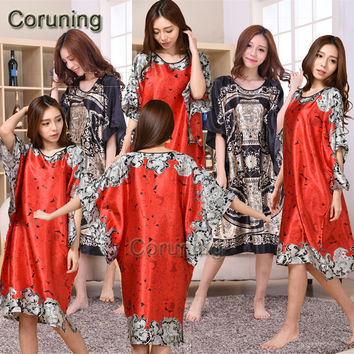 V1686 2016 Extra Large Butterfly Sleeves Women Nightgowns Printed,New Arrival Elegant Sleepshirts,Female Silk Nightwear