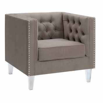 Ariel Collection Contemporary Polyester Velvet Fabric Upholstered Button Tufted Silver Nailhead Accented Living Room Tuxedo Arm Chair with Clear Acrylic Legs, Taupe