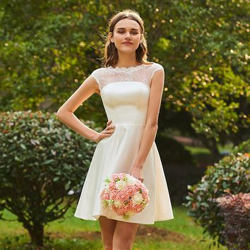 Short a line bridesmaid dress ivory cap sleeves knee length lace lady wedding party bridesmaid dresses