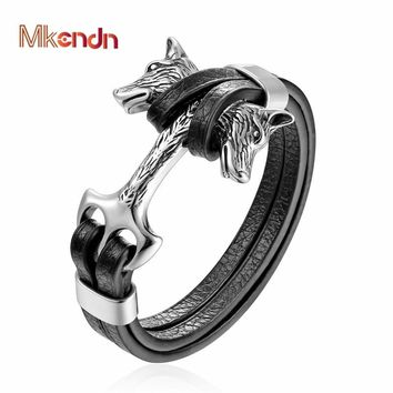 MKENDN New Fashion Stainless Steel Men Bracelet Double Wolf Shackles Black Charm Leather Bracelet Men Wristband Fashion Jewelry