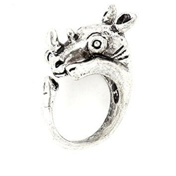 Rhinoceros Wrap Ring Silver Tone African Safari Rhino RL64 Animal Fashion Jewelry