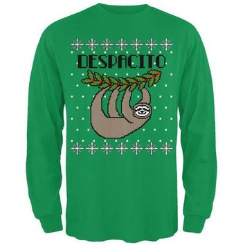 DCCKJY1 Despacito Means Slowly Sloth Funny Ugly Christmas Sweater Mens Long Sleeve T Shirt
