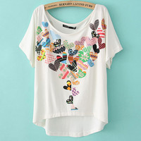 Peach Heart Two-sided Print Loose Short T-shirt For Her
