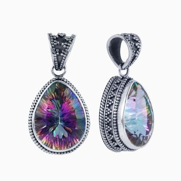 SP-8205-MT Sterling Silver Pendant With Mystic Topaz