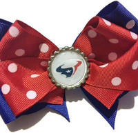Houston Texans Cheer Bow, Big Ribbon Bow, Texas Football, Bottle cap bow, red white and blue, 4th of july, cheer bows, polka dot bows