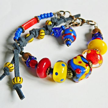 BoHo Lampwork Bracelet, Hippie, Asymmetric,   Leather,   Art glass, RedBlueYellow Bracelet, European Artisan