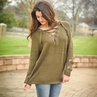 double knot sweater - olive