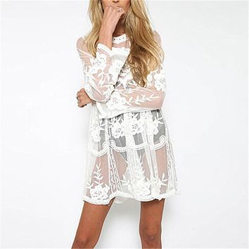 New Summer Swimsuit Lace Hollow Crochet Beach Bikini Cover Up  Women Tops Swimwear Beach Dress White and black Beach Tunic Shirt