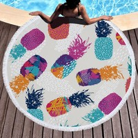 Summer Fruit Large Microfiber Round Beach Towel Pineapple  Beach Blanket Circle