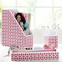 Peyton Desk Accessories Set, Pink Magenta Peyton