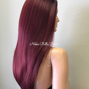 Burgundy Ombre Hair Half Wig - 8178 Paula ON SALE