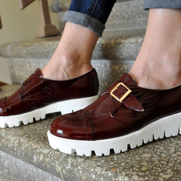 Boxton - Womens Oxford Platforms, Monk Straps,  Platfrom Shoes, Creepers, Oxfords for women, Patent shoes,  FREE customization!!!