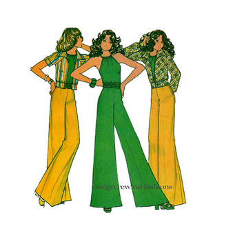 1970s HALTER TOP, Wide Leg Pants & Jacket DISCO Era Halter and Bell Bottom Pants Bust 36 McCall's 3546 UNCuT Womens Vintage Sewing Patterns