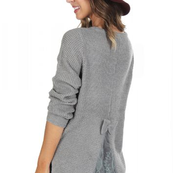 Bow & Lace Sweater Grey