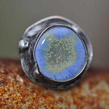 Adjustable ceramic ring  handmade ring  great gift for her  ready to ship  zolanna  blue ring coctail ring