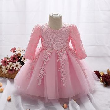 2017 Dress for Girl Long Sleeve White Baptism Dresses Baby Girl 1 Year Birthday Wear Toddler Girl Lace Christening Ball Gown