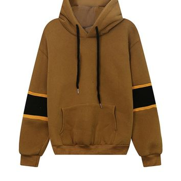 Casual Color Block Kangaroo Pocket Letters Drawstring Hoodie