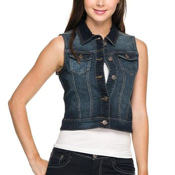 Casual Button Down Slim Fit Fashion Denim Vest Jacket