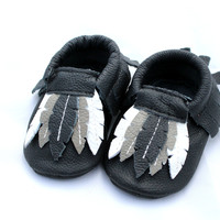 Baby Genuine Leather Feather Moccasins | Black Purple Lavender Pink