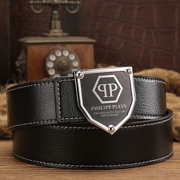 Philipp Plein Men Fashion Smooth Buckle Belt Leather Belt