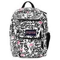 Jansport Big Student Backpack Black Pink Pansy Wanderlust Bag School Book Girl