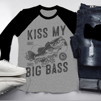 Men's Funny Fishing T-Shirt Kiss My Big Bass Vintage Fisherman Offensive 3/4 Sleeve Raglan