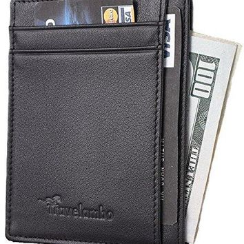 Front Pocket Wallet Travelambo Minimalist Wallet Slim Wallet Genuine Leather