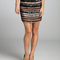 Romeo & Juliet Couture black sequin and jewel stripe skirt   BLUEFLY up to 70 off designer brands