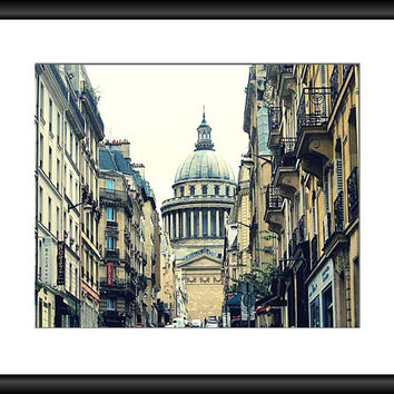 Paris Photograph, Pantheon Dome, Urban Street Photo, Latin Quarter, Paris Photography, France Print, Beige Wall Decor, 8 x 10 Wall Art