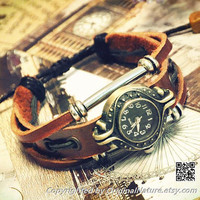 Retro Fashion Wrist Bangle Bracelet Girl Jewelry Women Girls Leather Watch (GA0016)