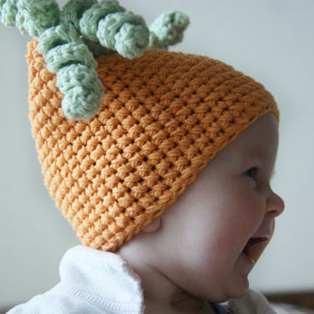 Spring baby girl hat Crochet orange infant girl beanie