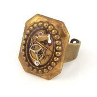 Victorian Steampunk Gear Ring - Brass