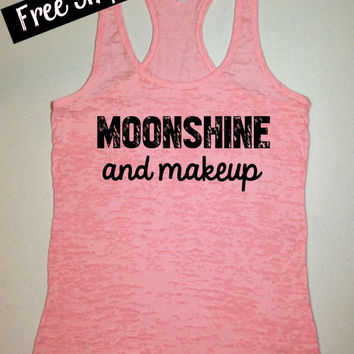 Moonshine and Makeup. Southern Girl Tank Top. Burnout Tank Top. Southern Shirt. Country Tank. Fitness Tank. Southern Clothing. Free Shipping
