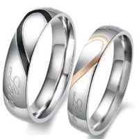 "Lover's Heart Shape Stainless Steel Mens Ladies Promise Ring Engrave ""Real Love ""Couple Engagement Wedding Bands"