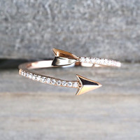 14k Solid Rose Gold Diamond Arrow Open Fashion Ring Band Love