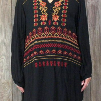 Adorable New Velzera Tunic Top 3xl size Black Red Gold Embroidered Hippy Boho Blouse