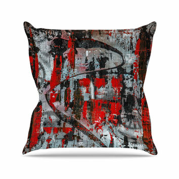 "Bruce Stanfield ""Zinger In Red"" Black Abstract Throw Pillow"