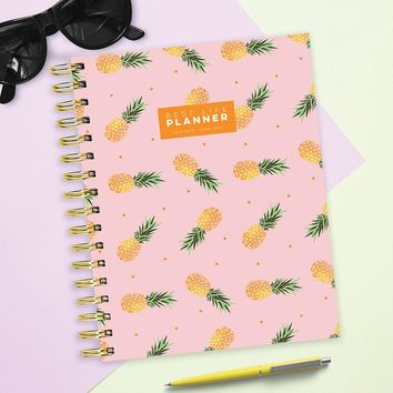 Luxe Polka Pink Pineapple Academic Weekly/Monthly Planner