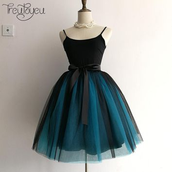 Womens 7 Layers Fashion Tutu Tulle Knee Length Pleated Skirt