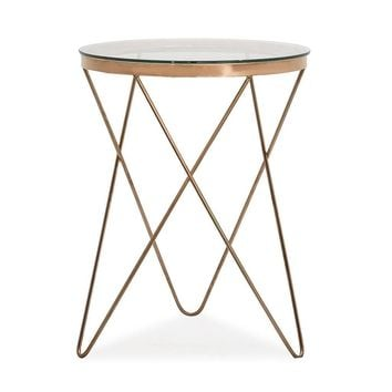 Marquee Side Table Gold / Tempered Glass