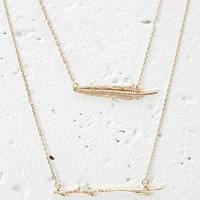Feather and Branch Necklace Set