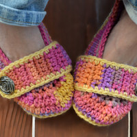 Crochet slippers, booties, shoes, socks with a button strap, colorful variegated tie dye spring collection in melonberry