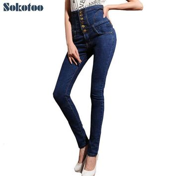 ONETOW Sokotoo Women's high waist jeans skinny elastic denim pencil pants Plus large size lace-up buttons long trousers