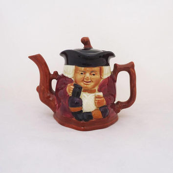 Vintage Staffordshire Shorter and Son Ltd Toby Teapot, Jolly Fellow Hand Painted Toby Style Teapot, Large Toby Style Teapot