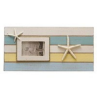 Color Block Starfish Beach Cottage Photo Frame - 20-1/4 x 10-in (Holds 4x6 photo)