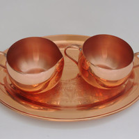 Coppercraft Guild Cream and Sugar Set With Tray Excellent